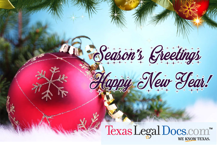 Seasons Greetings & Happy New Year from the Team at Texas Legal Docs